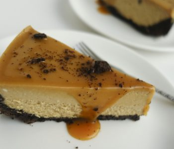 The chocolate Oreo crust pairs beautifully with a silky coffee cream cheesecake filling and a smooth caramel topping. Perfect for birthday celebrations and dinner parties!